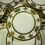 SALE Set 8 Royal Worcester  Dessert or Salad Plates Green and Gilt