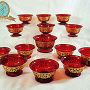 Set 14  Murano/Venetian red and gilt dessert bowls