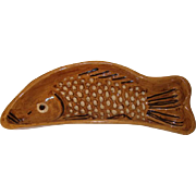Very rare large French Alsatian brown handmade pottery fish mold, 19th century