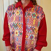 Hand made Guatemala Huipile cotton sweater jacket L-XL