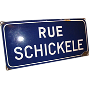 "Rare & old French enamel Street sign ""Rue Schickele"", from Obernai, Alsace"