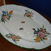 French hand painted earthenware large platter signed