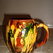 Old French jaspee pitcher from Savoie