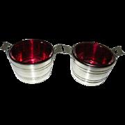 SALE Pair Antique Bucket Shaped Cranberry Glass Salts