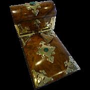 Antique Burl Walnut Desk Set - Brass & Malachite Mounted c.1860