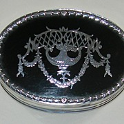 SOLD Pretty Antique Silver and Tortoiseshell Box - Opulent Silver Pique Inlay