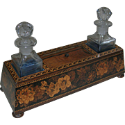 SALE Antique Tunbridge Ware Dressing Table Box / Perfume Caddy