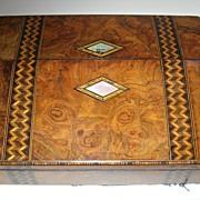 SALE Antique Burl Walnut and Tunbridge Ware Inlaid Lap Desk / Writing Box