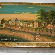 SALE Spectacular Hand Painted Spa Games Counter Box c. 1800