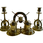 Magnificent Antique English Equestrian Desk Suite - Inkwell and Candlesticks