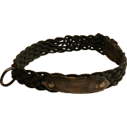SALE Victorian English Leather and Steel Dog Collar - Unusual Woven Form