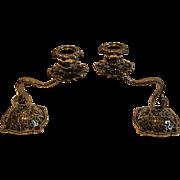Fabulous Antique English Cast Brass Serpentine Candlesticks c.1890