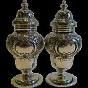 Handsome Large Pair Sterling Silver Pepper Pots / Pepperettes - Elkington & Co.