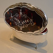 SALE Large Sterling Silver & Tortoiseshell Jewelry Box - Pique Inlaid