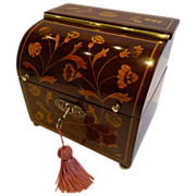 Rare Marquetry Inlaid Dutch Mahogany Single Tea Caddy c.1810