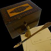 English William IV Stickware Tunbridge & Rosewood Stationery Box c.1835