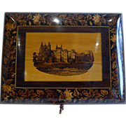 SOLD Small Antique Tunbridge Ware Writing Box - Rare Scene - Eton College, c.1860