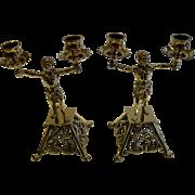 SALE Pair Antique English Brass Blackamoor Candlesticks c.1872