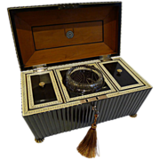 Grand Anglo-Indian Carved Buffalo Horn Vizagapatam Tea Caddy c.1840
