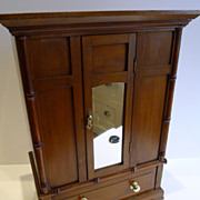 SALE Charming Antique English Pine, Satin Birch Doll's Wardrobe c.1900