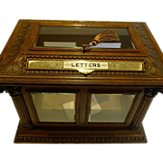 Rare & Grand Antique English Carved Oak Letters / Postal Box by Halstaff & Hannaford, London c