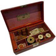 SALE Antique George III Leather Sewing Box by William Dobson - Kirby's Pins & Needles c ...
