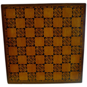 Handsome & Unusual Antique English Tunbridge or Parquetry Inlaid Chess / Games Board c.1870