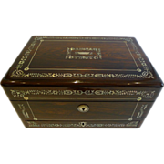 SOLD Fabulous Large English William IV Mother or Pearl Inlaid Rosewood Jewelry Box c.1835 - Re