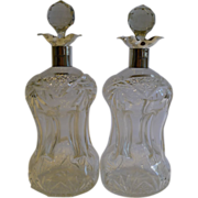 SALE Top Notch Pair of Cut Crystal & Sterling Silver Decanters by William Hutton & Sons