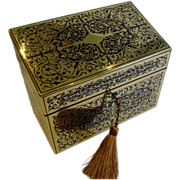 Magnificent Antique English Tortoiseshell / Boulle Stationery Box c.1860
