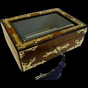 Brass Mounted Burl Walnut Jewelry Box c.1860 - Glazed Lid