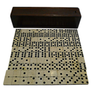 SALE Large Antique English Set Double Nines Dominoes In Bone & Ebony - Original Box c.1890
