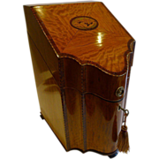 SALE Magnificent English Sheraton Satinwood Shell Inlaid Knife Box - Converted To Stationery c