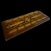 Huge Antique English Inlaid Walnut Cribbage Board c.1880