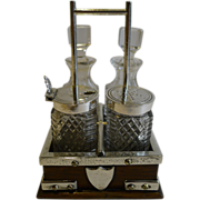 Charming Small Oak & Silver Plated Cruet Set by John Grinsell & Co.