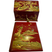 SALE Antique English Edwardian Red Chinoiserie Desk Set c.1910