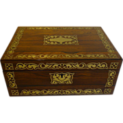 SALE English Regency Jewelry or Desk Box - Cut Brass Inlaid c.1820