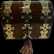 Oversized Antique English Walnut & Brass Tea Caddy c.1860