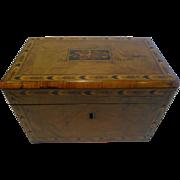 SALE Antique English Burl Walnut and Tunbridge Inlaid Tea Caddy c.1860