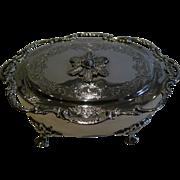 SALE Pretty Antique English Sterling Silver Jewelry Box - 1906