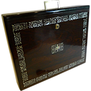 SOLD Rare English William IV Mother of Pearl Inlaid Rosewood Writing Box c.1830