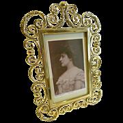 Elegant Antique English Brass Photograph Frame c.1880