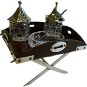 Rare Antique English Novelty Cruet Set @ Butlers Tray In Oak & Silver Plate c.1885