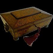 Stunning Antique English Regency Penwork Games Box c.1820