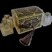Exceptional Antique English Boulle Scent Bottle Box / Casket c.1830