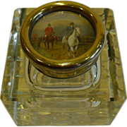 SALE Large Antique, English Cut Crystal Inkwell - Hunt Scene Top c. 1910
