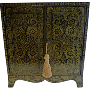 Magnificent Antique English Penwork Table Cabinet c.1790
