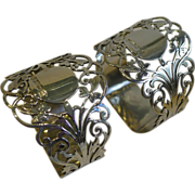 Stunning Pair Antique English Sterling Silver Napkin Rings - 1911