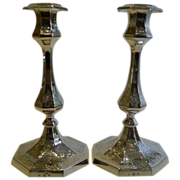 SALE Pair Antique English Silver Plated Candlesticks by Elkington - 1851