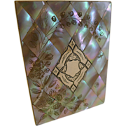 Magnificent Antique English Mother of Pearl Shell Card Case